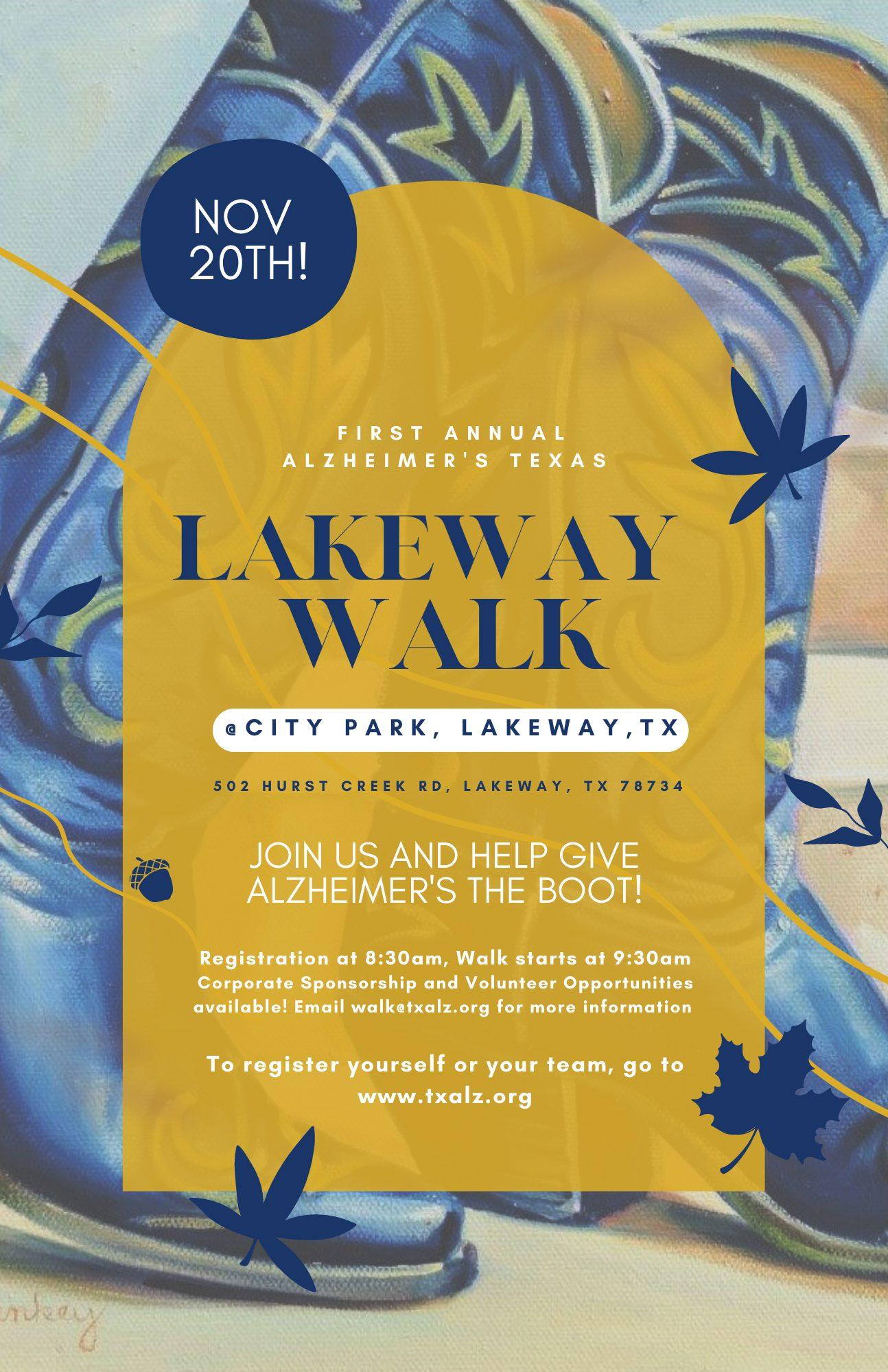 First Annual Alzheimer's Texas Lakeway Walk, Nov. 20th, 2021 at City Park